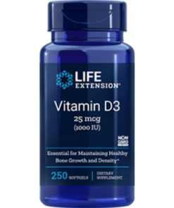 Vitamin D3, 25 mcg (1000 IU), 250 softgels