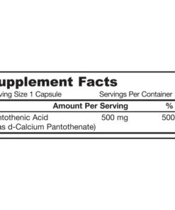 Vitamin B-5, Pantothenic Acid, 500mg x 100Caps
