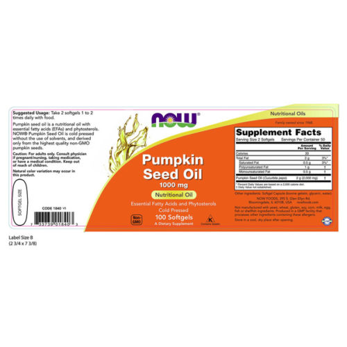Pumpkin Oil 1000mg x 100 SGels