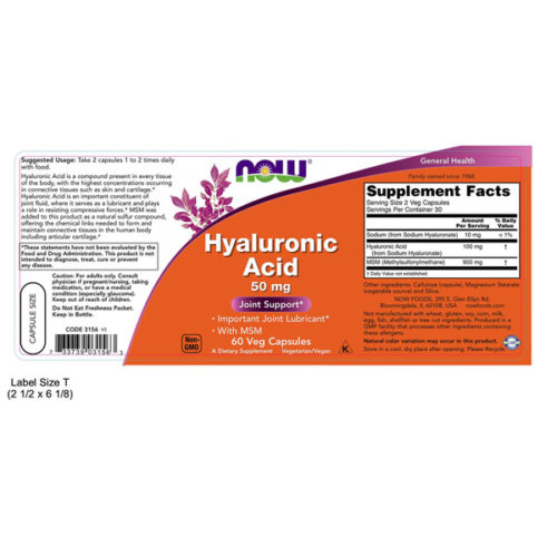 Hyaluronic Acid with MSM, 60VCaps