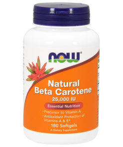 Vitamin A, Beta-Carotene, Natural, 25,000iu 180SGels