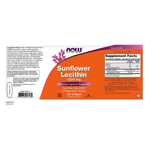 Lecithin, Sunflower, 1200mg x 200SGels